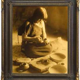 "Edward S. Curtis, The Potter (Nampeyo), Hopi, 1904, goldtone, 17 x 14"""