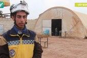 """الدفاع المدني والمجمع التربوي يجهزان مدرسة """"عمر الفاروق"""" في أحد مخيمات سجو بريف حلب"""