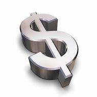 3D chrome Dollar symbol