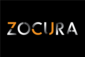 zocura logo white on black background