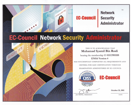 ENSA (Ec-Council Network Security Administrator) Certificate