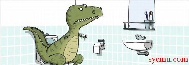 Tyrannosaurus (T-Rex) can't reach the toilet paper