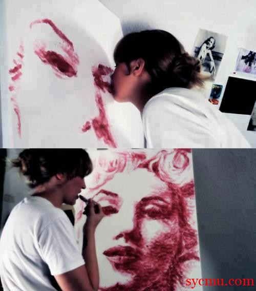 Lipstick Art Made with Kisses Marilyn Monroe