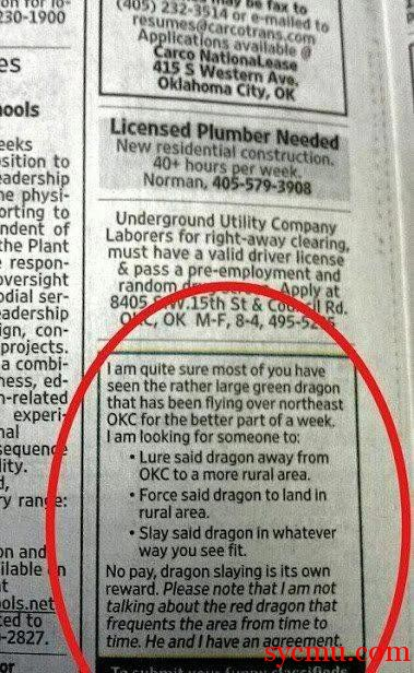 Newspaper advertisement asking for dragon killer