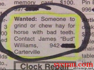 Crazy newspaper ad
