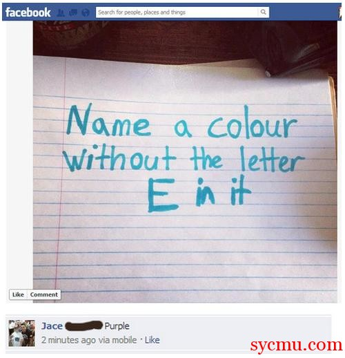Name a color without the letter E in it