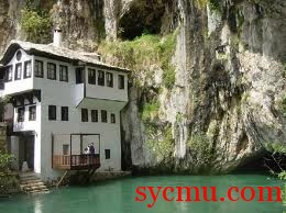 Blagaj white building by water