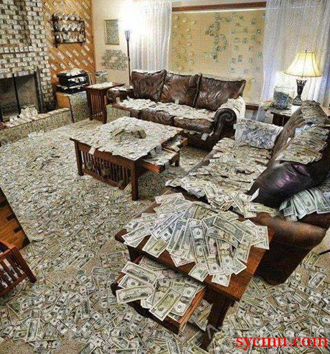 Living room Covered with Money