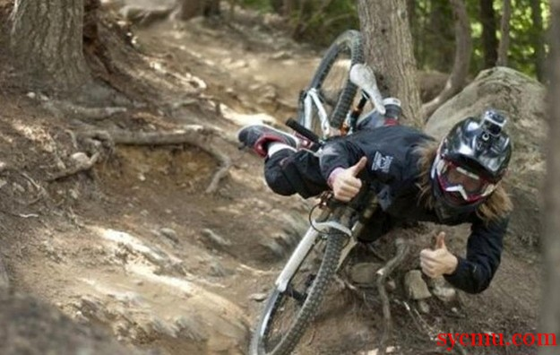 Falling from a mountain bike