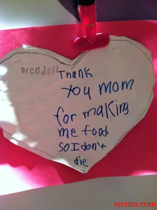 Thanking mom for making food