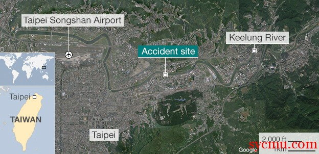 Taiwan Plane Crash Location