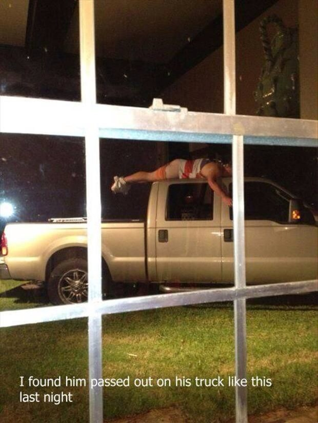 passed out drunk on truck