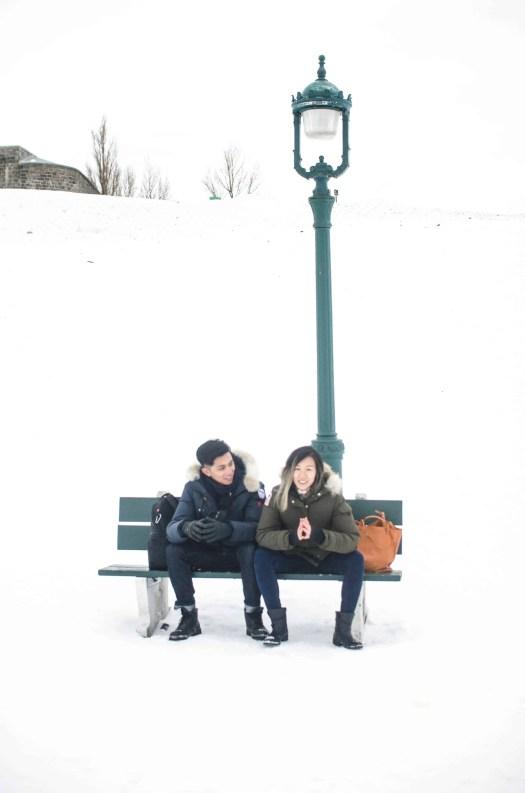 Seated Power Pose on a Bench at Park du Bastion-de-la-reine