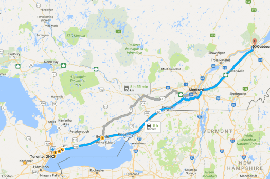 Googe Maps indicating the duration from Toronto To Quebec