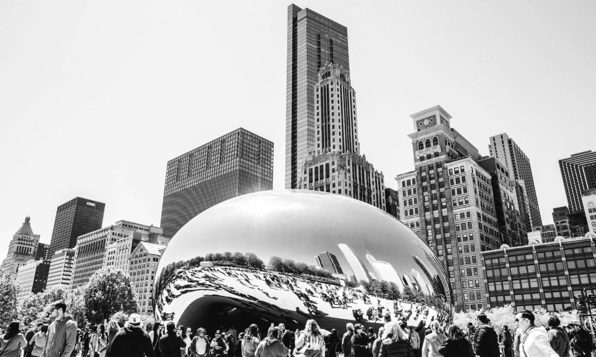 "B&W ""Bean"" in Chicago (Cloud Gate)"
