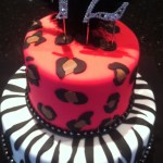 Zebra and leopard birthday cake