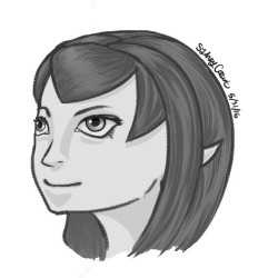 black and white elf face