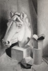 plaster casts charcoal drawing