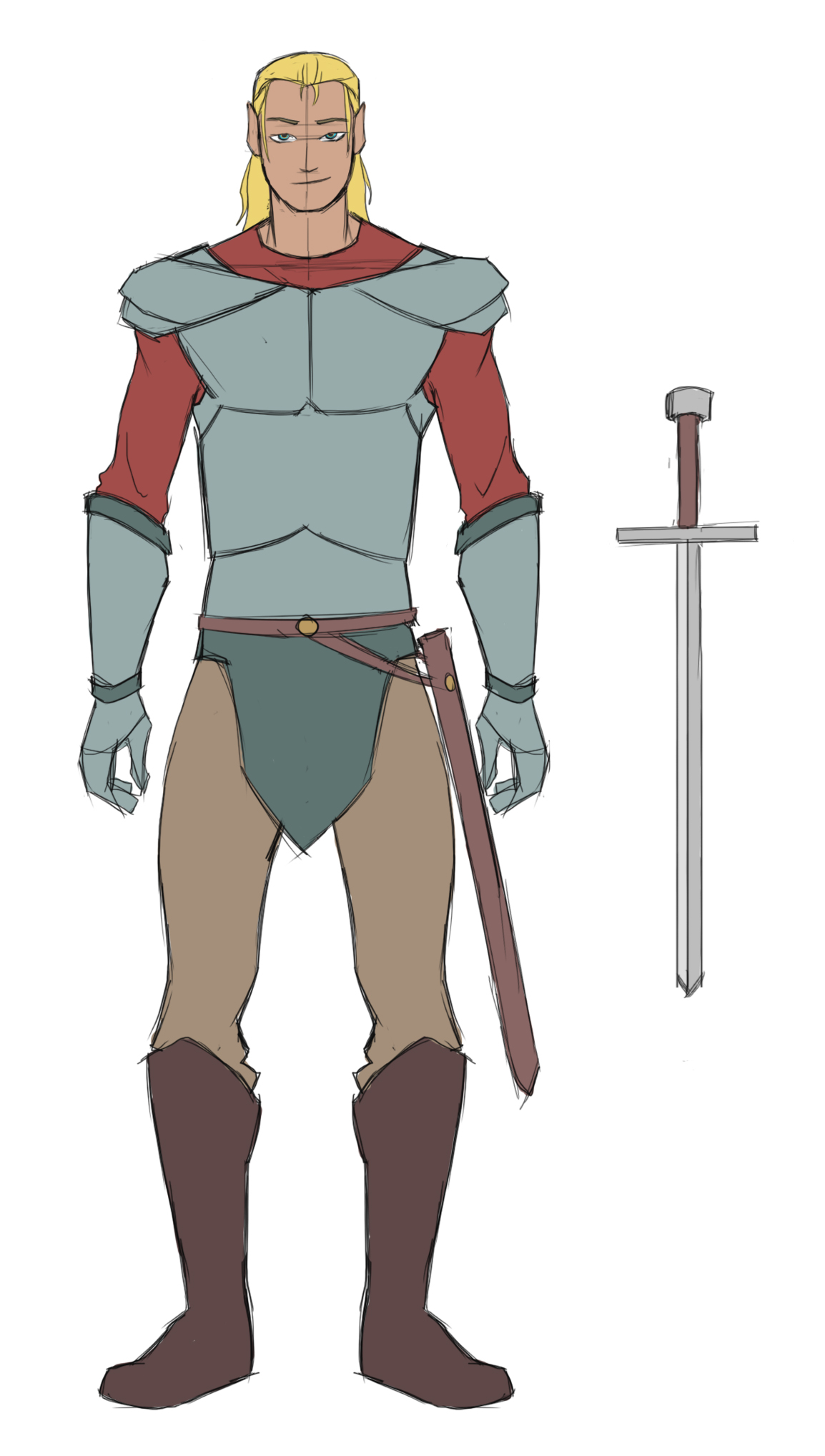 Tall, built male wearing pale armor with gauntlets, a burnt orange under-shirt, and brown pants, boots, and sword belt. He dons long hair half up – his ears slightly pointed. His sword is displayed at the side – a brown hilt and silver blade.