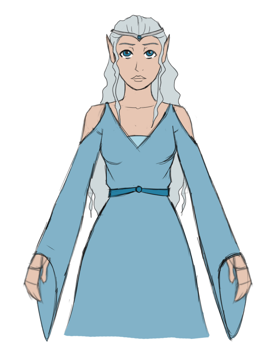 Slim girl wearing a cool, long dress, complete with long sleeves, her shoulders exposed. Her hair is long and silver, a simple crown adorns her head, her eyes matching its color.