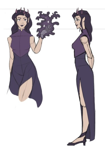 Pale woman with long purple dress on and thick purple top armor – wielding dark magic in her left hand. Side view reveals her with hands behind her back. Wearing heels and has a slit in her dress. Also wearing a dark crown, donning purple lips and eyes.