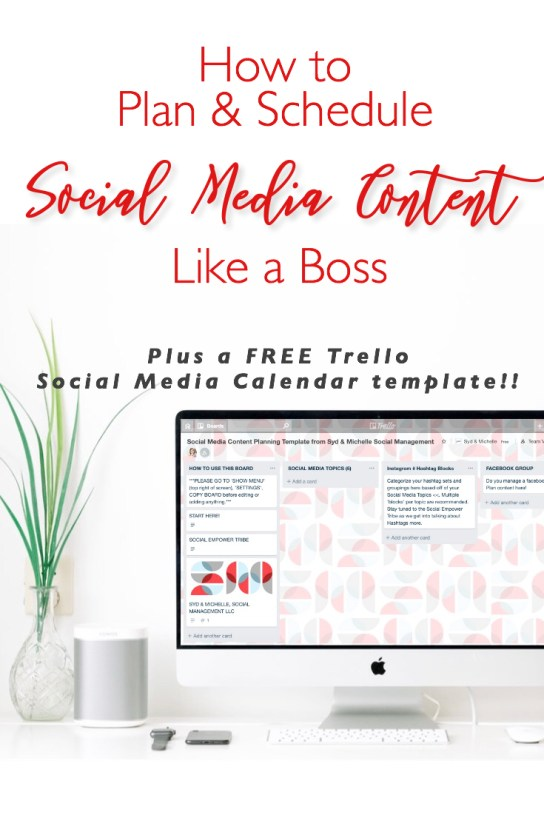 how to plan and schedule social media content like a boss free trello template social media calendar www.sydneydelucchi.com www.sydandmichelle.com Social Empower Tribe Trello for Social Media Managers Content Calendar