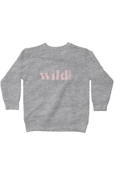 Wild Mini kids fleece sweatshirt - grey with pink