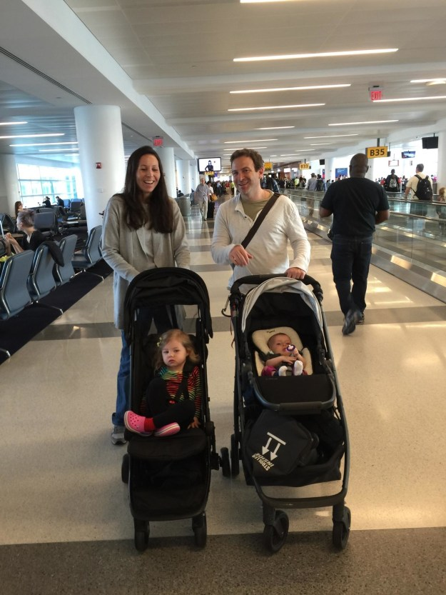 After going to play at their house a few days prior, we ran into my friend Josh and his baby Ayla at the airport 97/2/15)