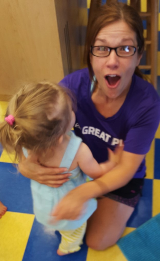 Amy was super excited to get a hug from Sydney (7/20/15)