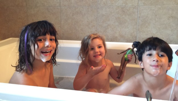 In the bathtub with bubble beards