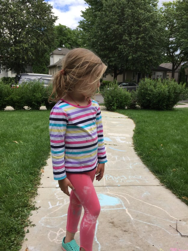 The (messy) artist after chalking the sidewalk