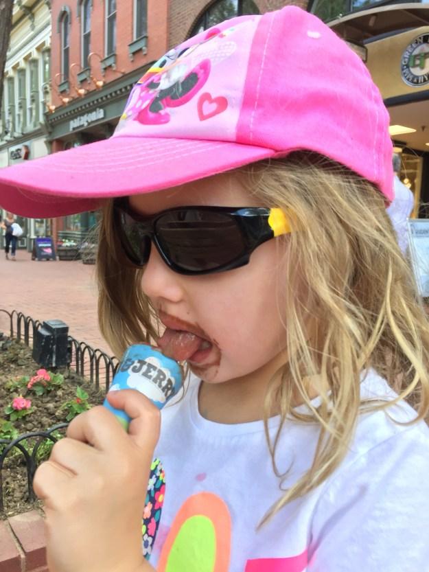 Eating ice cream on Pearl Street Mall