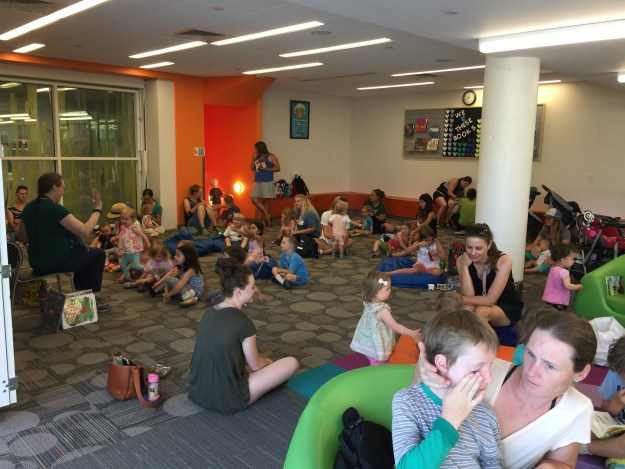 Story Time at the library with 22 moms and nannies