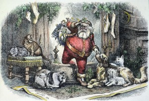 Nast's Santa, dressed in red, coming down a chimney