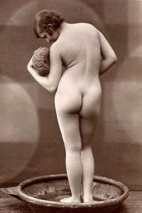 vintage nude woman in bath