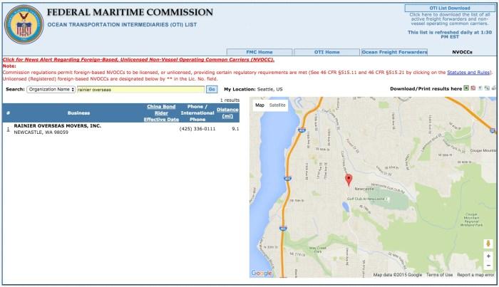 Rainier Overseas Federal Maritime Commission Listing