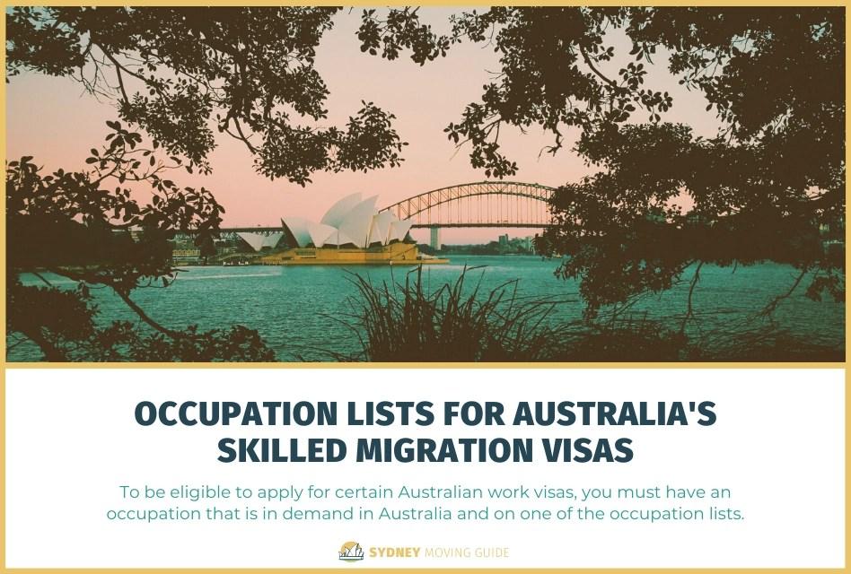 Occupation Lists for Australia's Skilled Migration Visas Like the 189 and 482 Work Visas