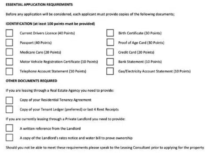 Real Estate Agency Century 21 100 Points of ID List for Rental Application