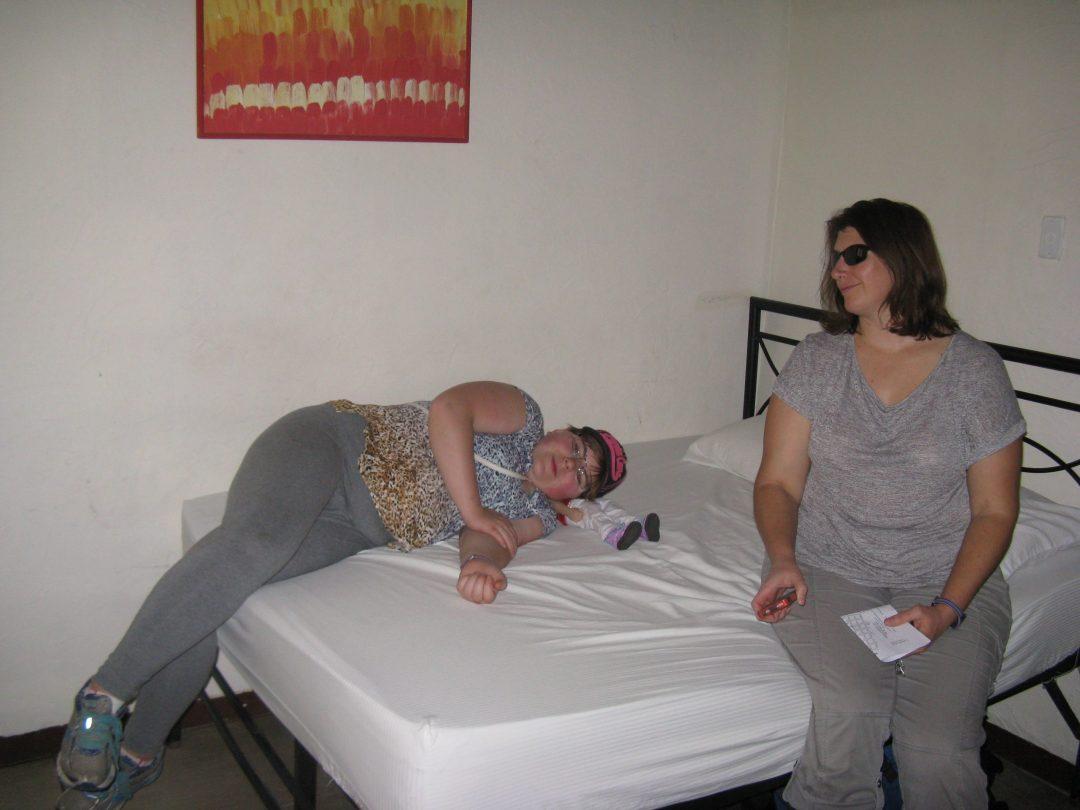 Sydney and Karen in our hostel room
