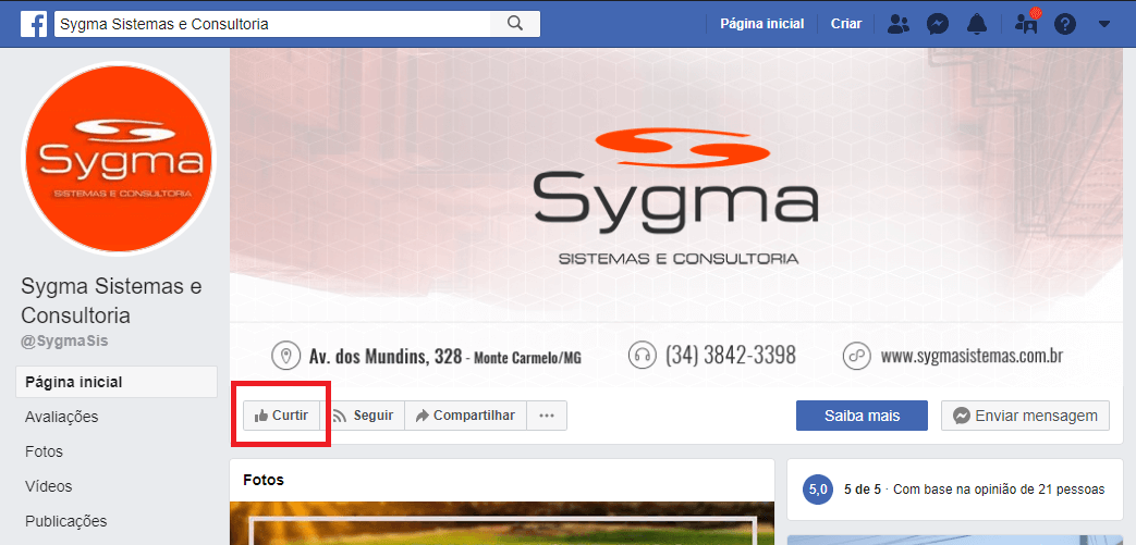 Captura de tela do Facebook mostrando como curtir a página da Sygma