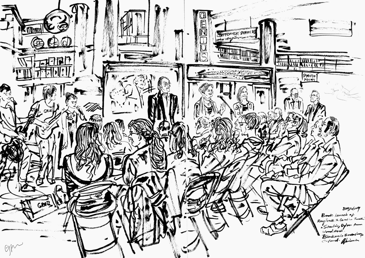 Weimin sketch of Ray Foulk book launch