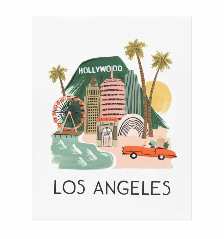 sylvie in the sky style travel with kids easy guide | GO: LABOR DAY TRAVEL WITH KIDS by popular San Francisco travel blog, Sylvie in the Sky: graphic image of Rifle Paper Co. Los Angeles illustration.