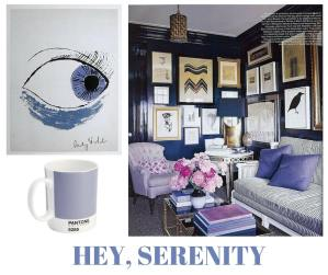 sylvie in the sky / pantone color of the year serenity / winter color trend / periwinkle / home decor trend / canva / inspiration board / color collage