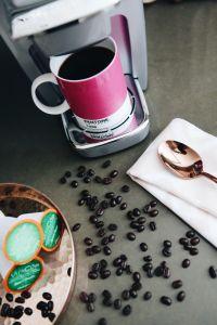 Coconut Milk Coffee Creamer Recipe   Vitacup   Pantone Coffee Mugs   Keurig   Cafe Au Lait Dahlias   Rose Gold Copper Flatware   Rose Gold Copper Serving Tray   Blush Pink Ikat Napkin