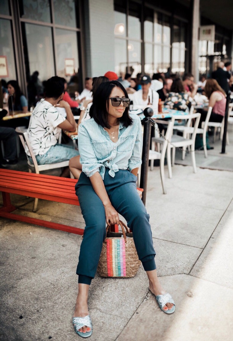 Summer Straw Bags featured by top US fashion blogger Sylvie in the Sky