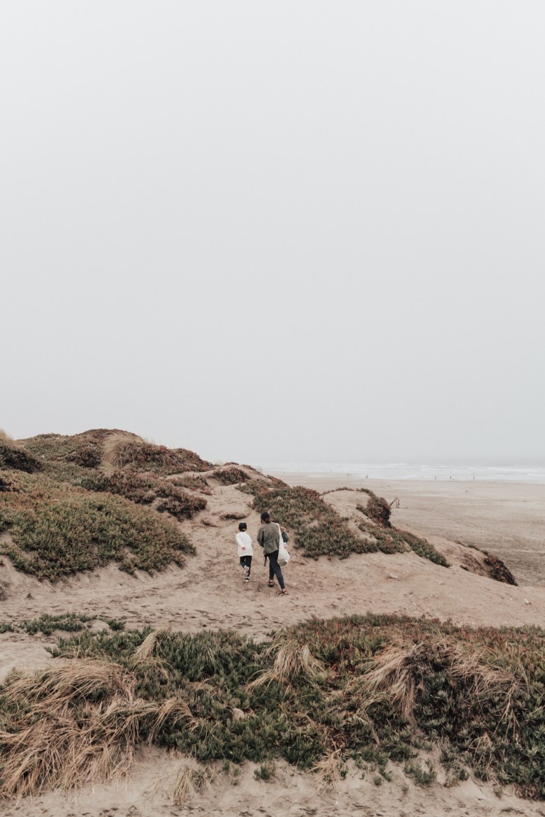 18 Fun Screen-Free Activities for Kids by popular San Francisco lifestyle blog, Sylvie in the Sky: image of a mom and her kids walking along a sand dune at the beach.