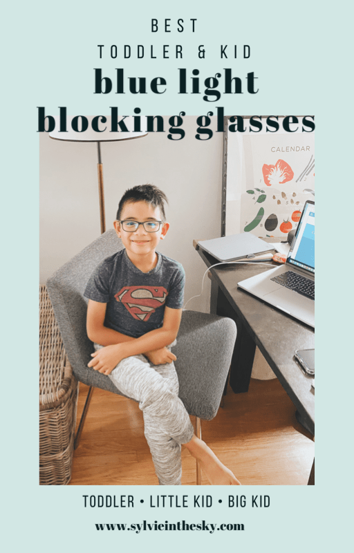 Blue Light Glasses by popular San Francisco motherhood blog, Sylvie in the Sky: Pinterest image of a young boy wearing a pair of blue light glasses.