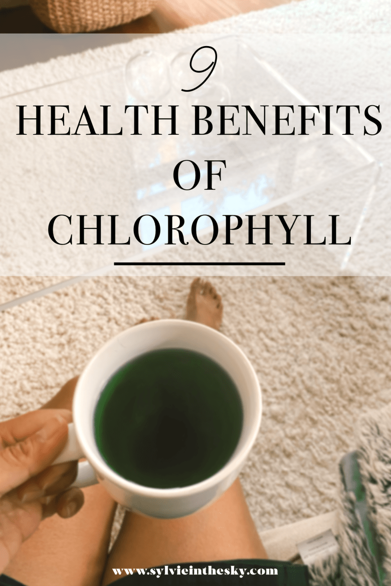 Chlorophyll Water by popular San Francisco lifestyle blog, Sylvie in the Sky: Pinterest image of a woman holding a mug filled with Chlorophyll water.