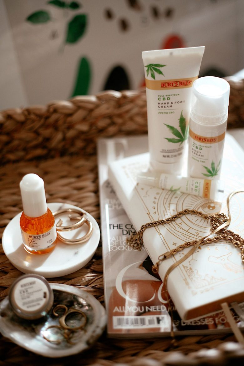 Burts Bees CBD Skincare by popular San Francisco beauty blog, Sylvie in the Sky: image of Burts Bees CBD Skincare products.
