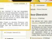 Screenshot über das eingeblendete Infofenster